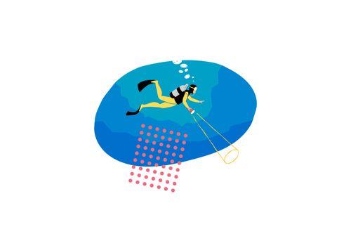 image of freelancer swimming