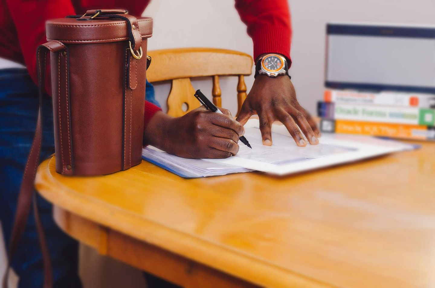 image of digital marketer freelancer signing contract