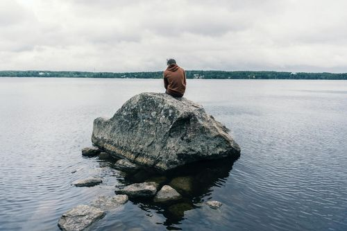 freelancer alone on a rock