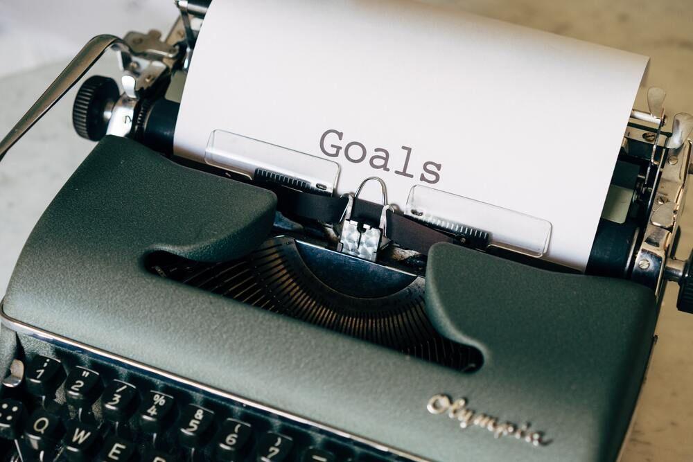 image of freelancer goals on typewriter
