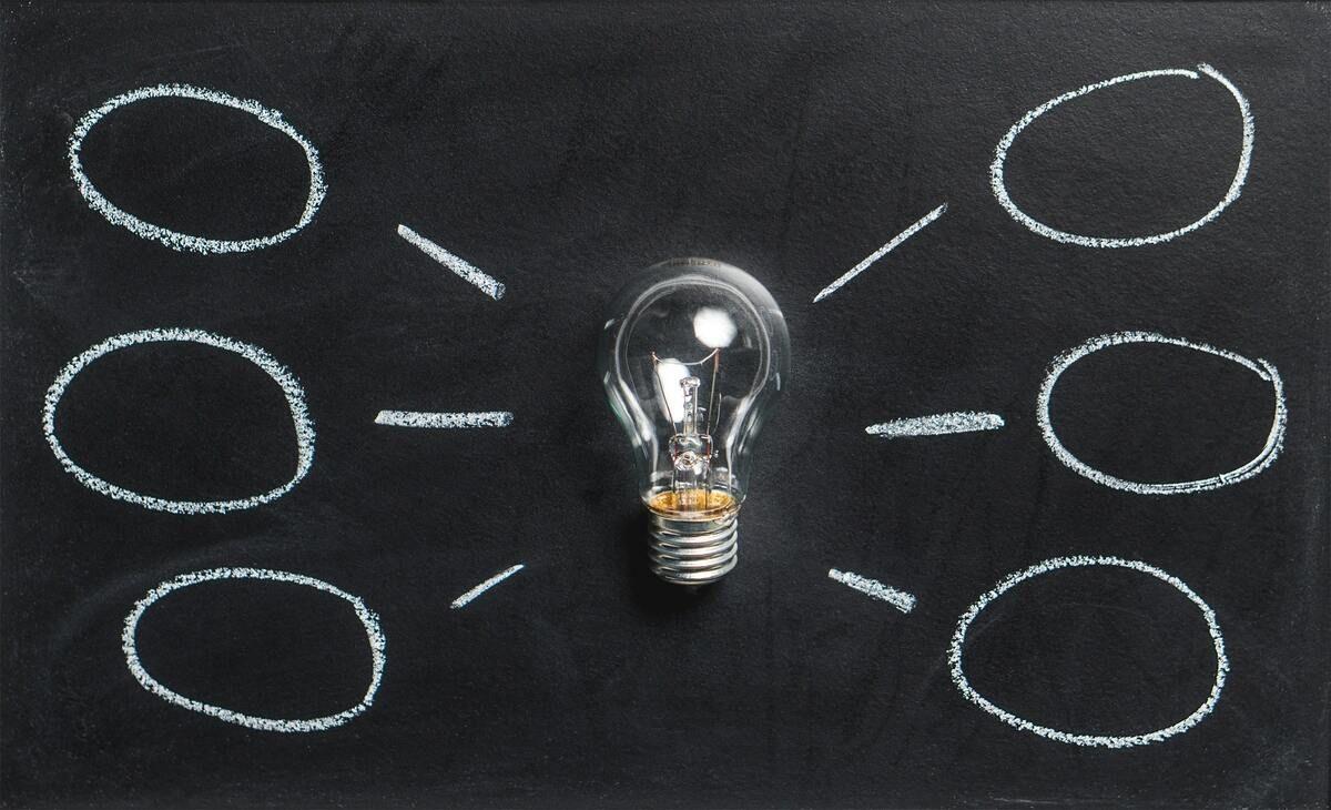 Light bulb against a chalkboard with chalk idea bubbles