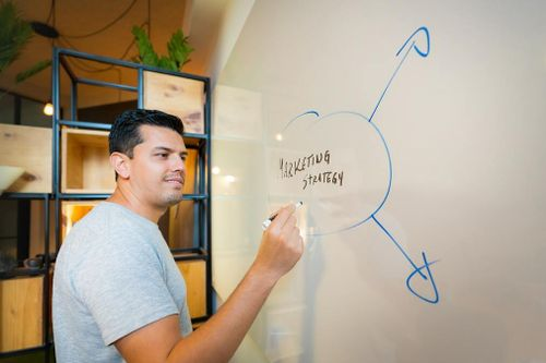 Man writing a marketing strategy on a board