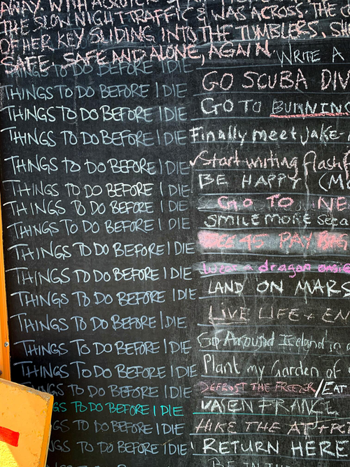 Chalkboard list of priorities for urgent and important items