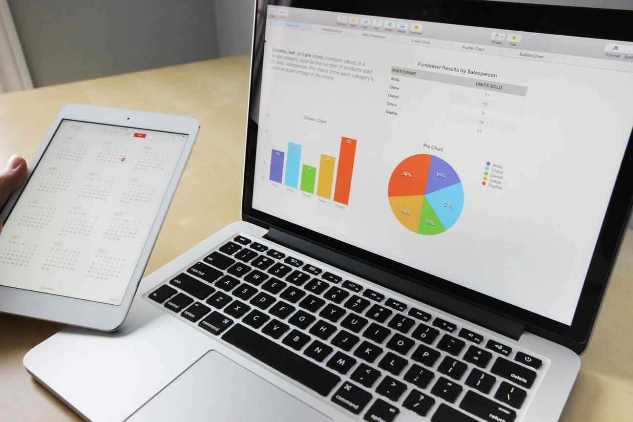 Close-up of a laptop on a table displaying charts and graphs of business data
