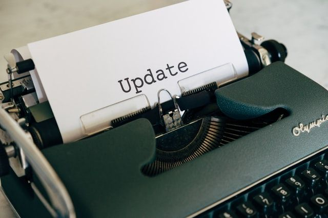 image of the word 'update' to represent freelancers sharing an update