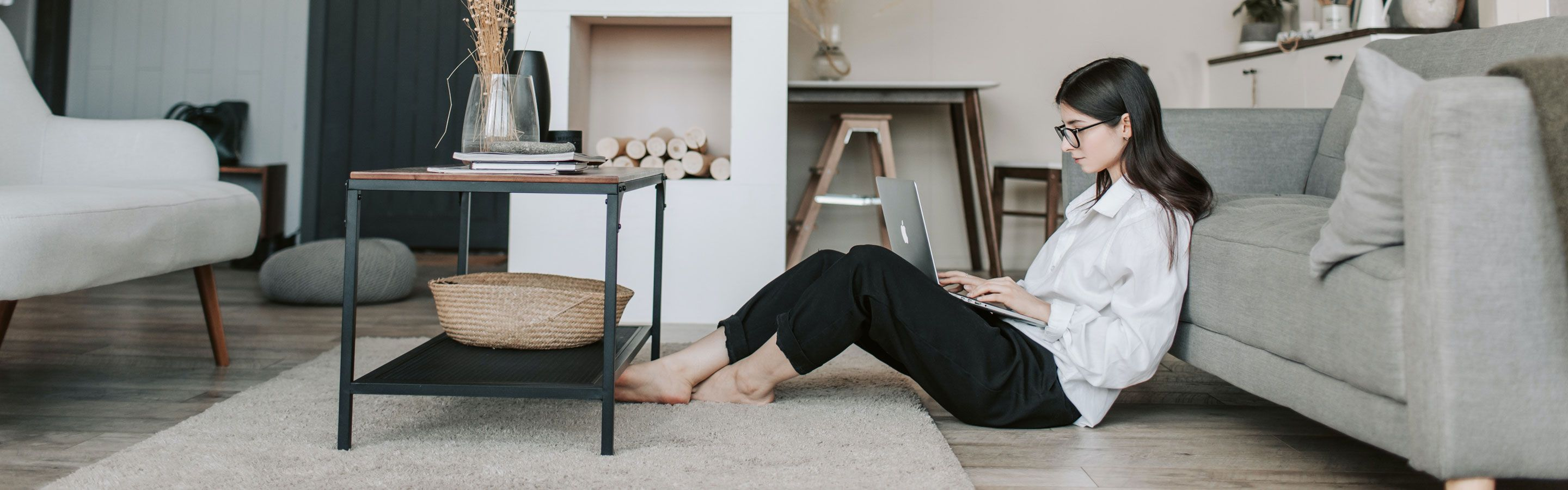woman searching tips how to be productive working from home