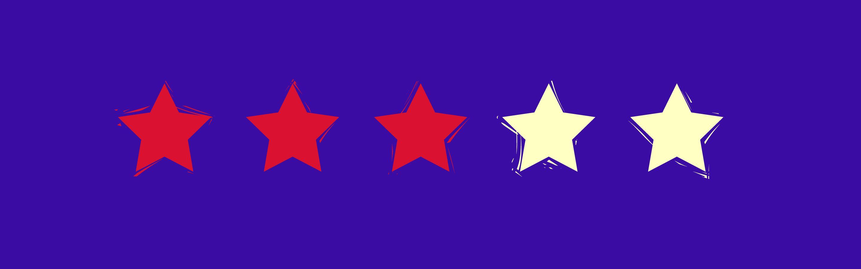 Five stars on a purple background