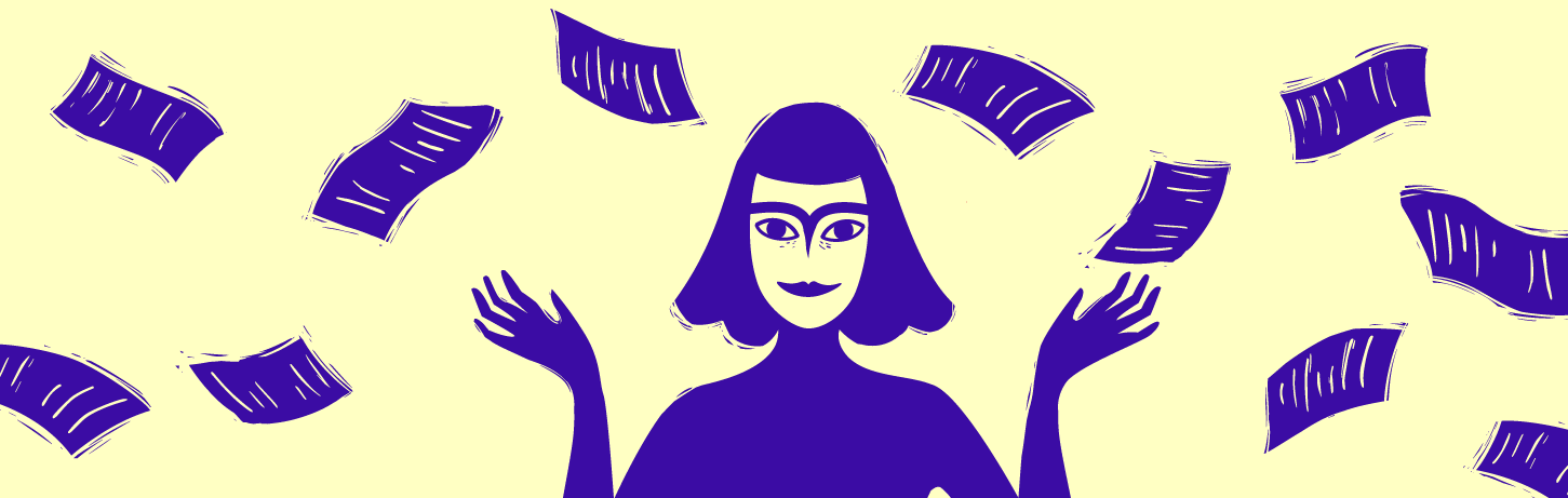 Cream background with purple notes and a purple cartoon woman