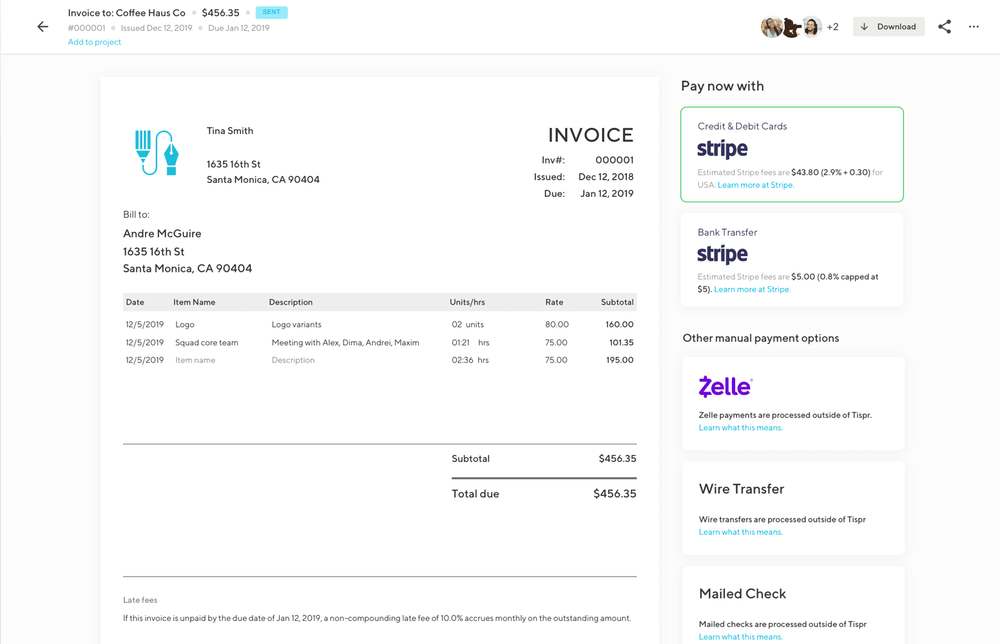 indy invoice example