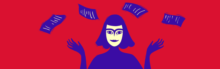Indy notes woman in purple on red background