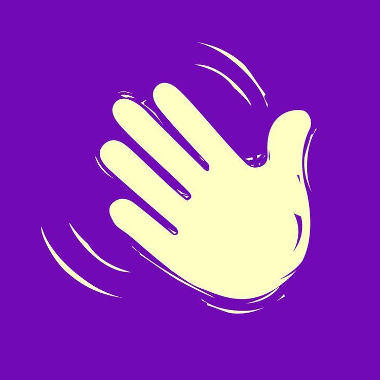 white hand on purple background