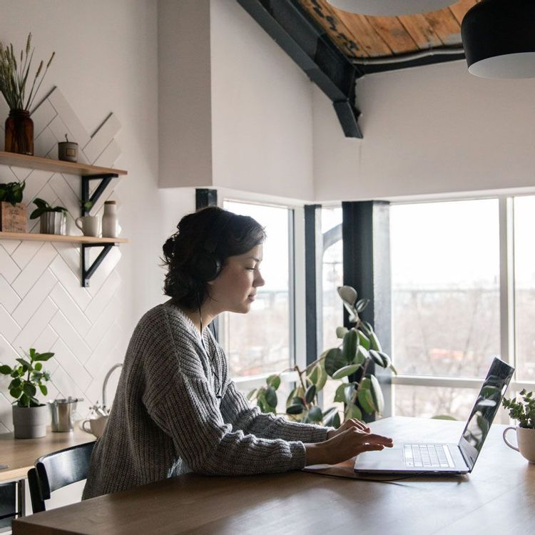 Freelancer working from her home