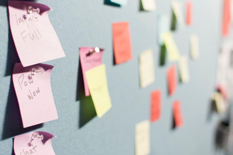 Sticky notes on a board.