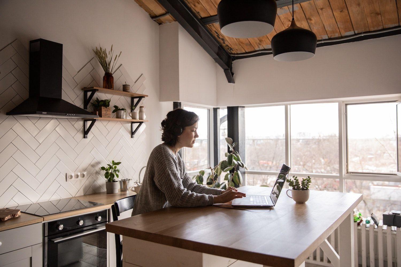 Freelancer working from her kitchen