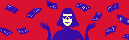 Red background, purple notes, woman holding hands up