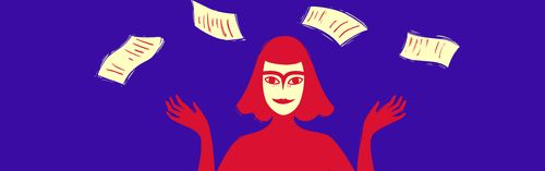 Drawing of a woman with ivory contracts floating above her head on a purple background.