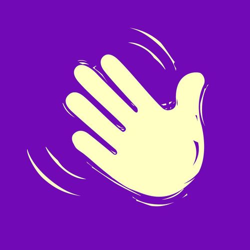 white hand on purple background