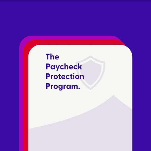 The Paycheck Protection Program on a white paper with a purple background