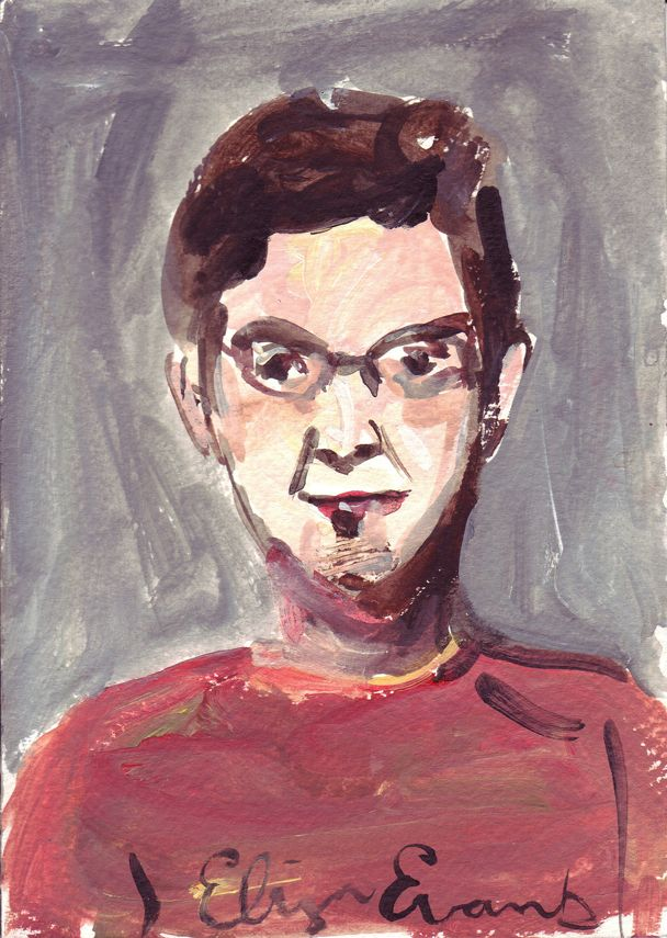 Painting of Cris Edwards in red shirt with glasses.